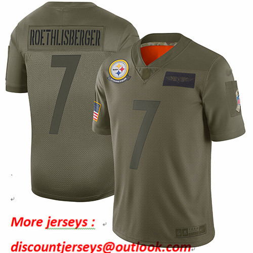 Steelers #7 Ben Roethlisberger Camo Youth Stitched Football Limited 2019 Salute to Service Jersey