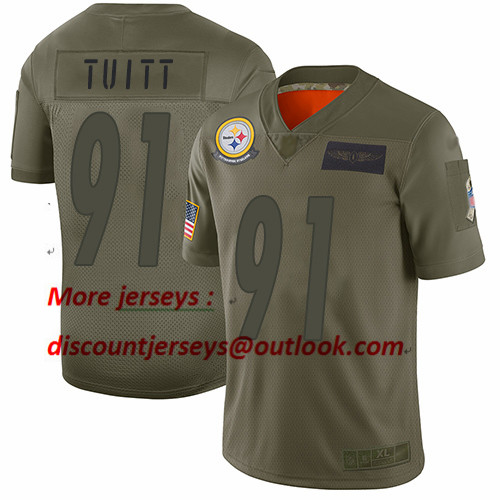 Steelers #91 Stephon Tuitt Camo Youth Stitched Football Limited 2019 Salute to Service Jersey
