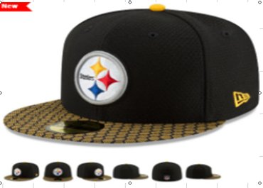Steelers Team Logo Black Fitted Hat LX