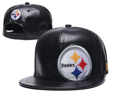 Steelers Team Logo Black Leather Adjustable Hat GS
