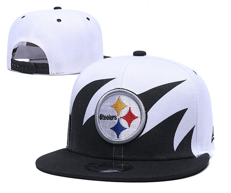 Steelers Team Logo White Black Adjustable Hat GS