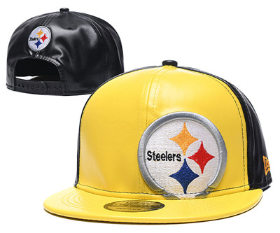 Steelers Team Logo Yellow Black Leather Adjustable Hat GS