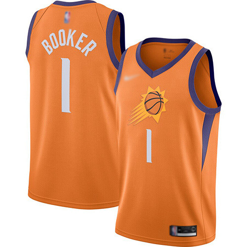 Suns #1 Devin Booker Orange Basketball Swingman Statement Edition 2019 2020 Jersey