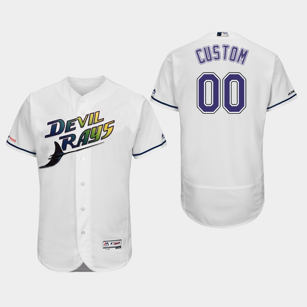 Tampa Bay Rays Custom Authentic Collection Home White Flex Base Jersey
