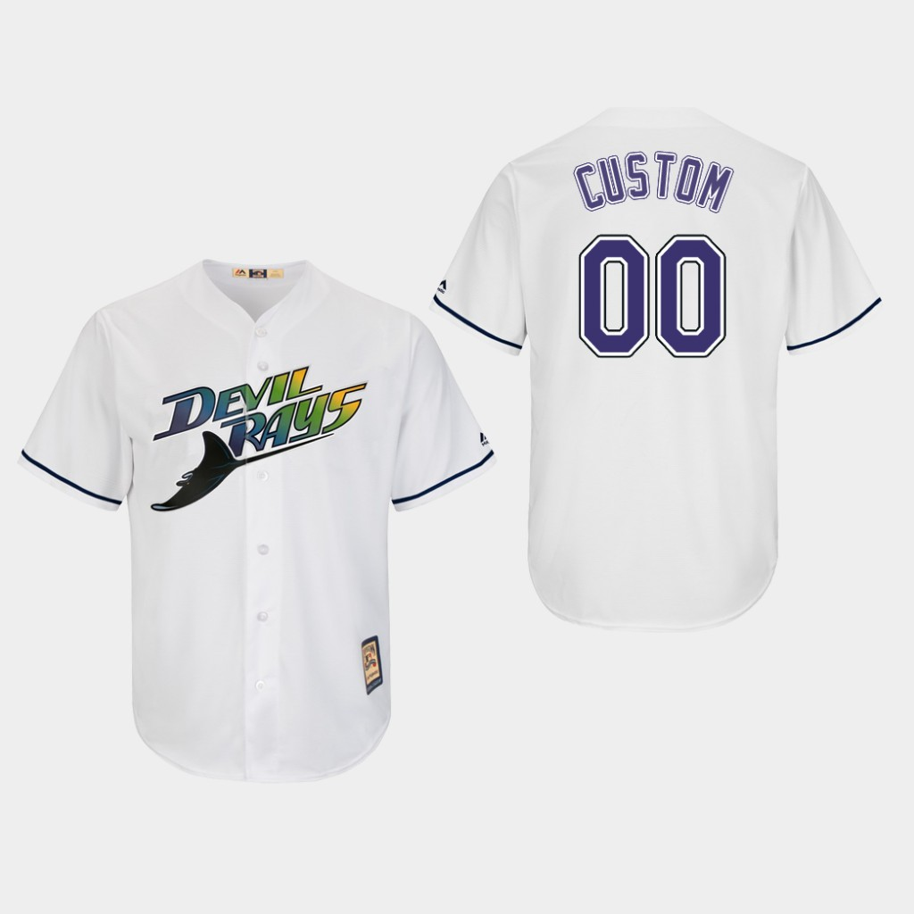 Tampa Bay Rays Custom Cooperstown Home White Cool Base Jersey