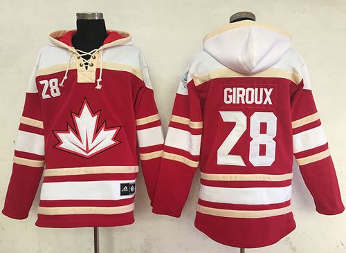 Team CA. #28 Claude Giroux Red Sawyer Hooded Sweatshirt 2016 World Cup Stitched NHL Jersey