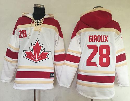 Team CA. #28 Claude Giroux White Sawyer Hooded Sweatshirt 2016 World Cup Stitched NHL Jersey