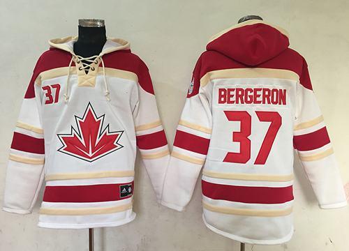 Team CA. #37 Patrice Bergeron White Sawyer Hooded Sweatshirt 2016 World Cup Stitched NHL Jersey