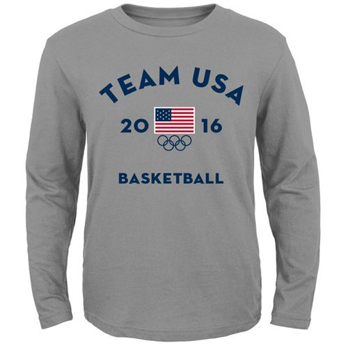Team USA Basketball Very Official National Governing Body Long Sleeves T-Shirt Gray