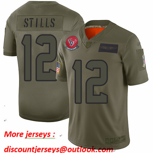 Texans #12 Kenny Stills Camo Men's Stitched Football Limited 2019 Salute To Service Jersey