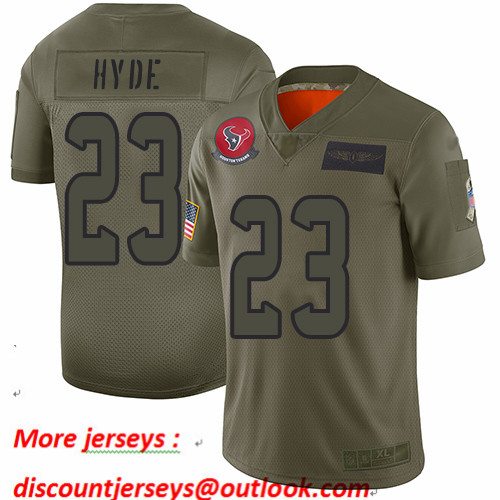 Texans #23 Carlos Hyde Camo Men's Stitched Football Limited 2019 Salute To Service Jersey