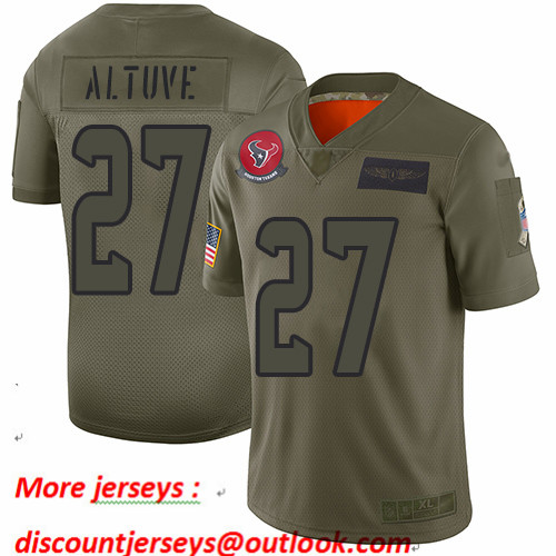 Texans #27 Jose Altuve Camo Men's Stitched Football Limited 2019 Salute To Service Jersey