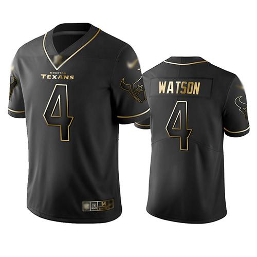 Texans #4 Deshaun Watson Black Men's Stitched Football Limited Golden Edition Jersey