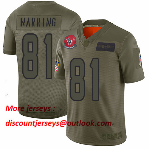 Texans #81 Kahale Warring Camo Men's Stitched Football Limited 2019 Salute To Service Jersey