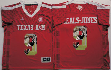Texas A&M Aggies 9 Ricky Seals Jones Red Portrait Number College Jersey