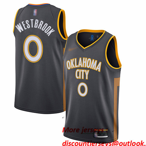 Thunder #0 Russell Westbrook Charcoal Basketball Swingman City Edition 2019 20 Jersey