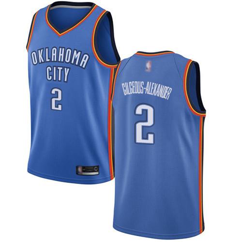 Thunder #2 Shai Gilgeous-Alexander Blue Basketball Swingman Icon Edition Jersey