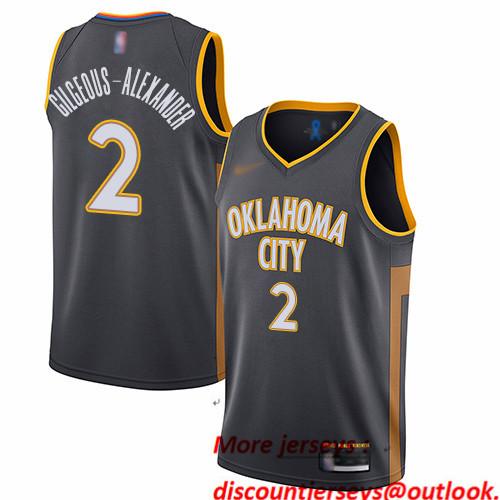 Thunder #2 Shai Gilgeous-Alexander Charcoal Basketball Swingman City Edition 2019 20 Jersey