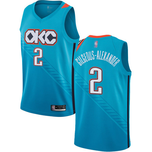 Thunder #2 Shai Gilgeous-Alexander Turquoise Basketball Swingman City Edition 2018 19 Jersey