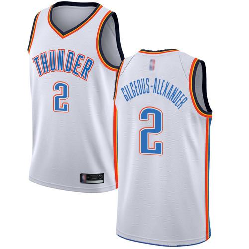 Thunder #2 Shai Gilgeous-Alexander White Basketball Swingman Association Edition Jersey