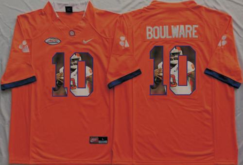 Tigers #10 Ben Boulware Orange Player Fashion Stitched NCAA Jersey