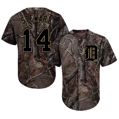 Tigers #14 Christin Stewart Camo Realtree Collection Cool Base Stitched Youth Baseball Jersey
