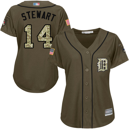 Tigers #14 Christin Stewart Green Salute to Service Women's Stitched Baseball Jersey