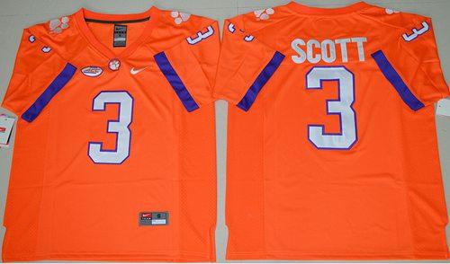 Tigers #3 Artavis Scott Orange Limited Stitched NCAA Jersey