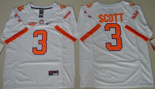 Tigers #3 Artavis Scott White Limited Stitched NCAA Jersey