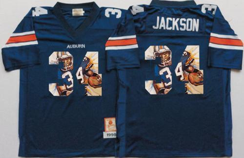 Tigers #34 Bo Jackson Blue Player Fashion Stitched NCAA Jersey