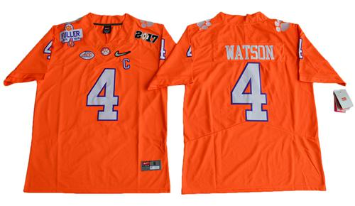 Tigers #4 Deshaun Watson Orange Diamond Quest Limited Stitched NCAA Jersey