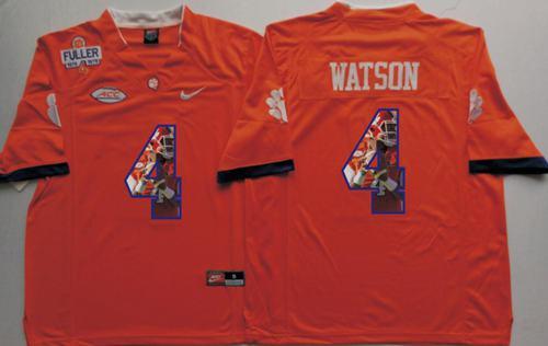 Tigers #4 Deshaun Watson Orange Player Fashion Stitched NCAA Jersey