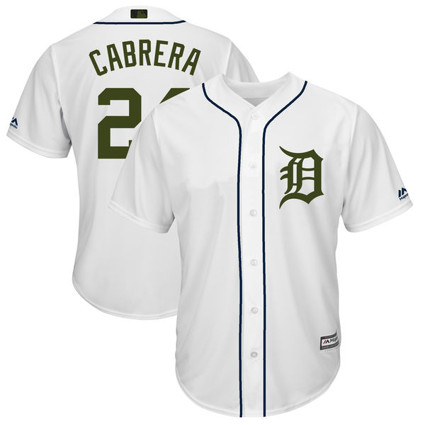 Tigers 24 Miguel Cabrera White 2018 Memorial Day Cool Base Jersey