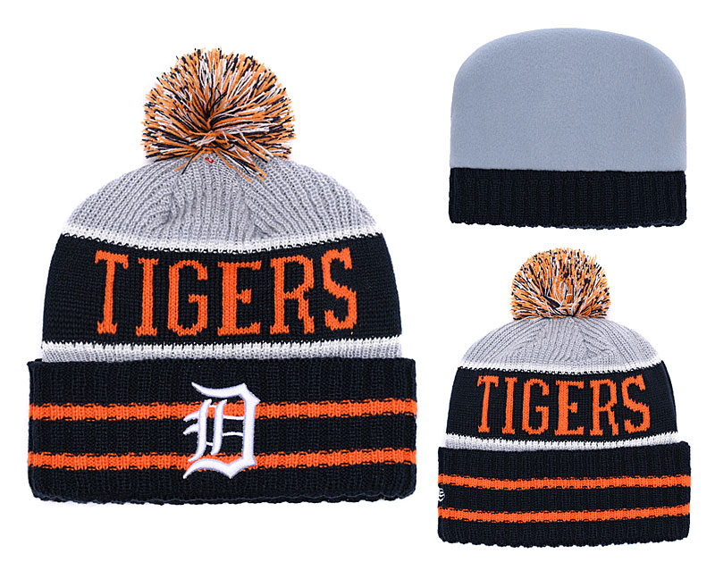 Tigers Fresh Logo Black Pom Knit Hat YD