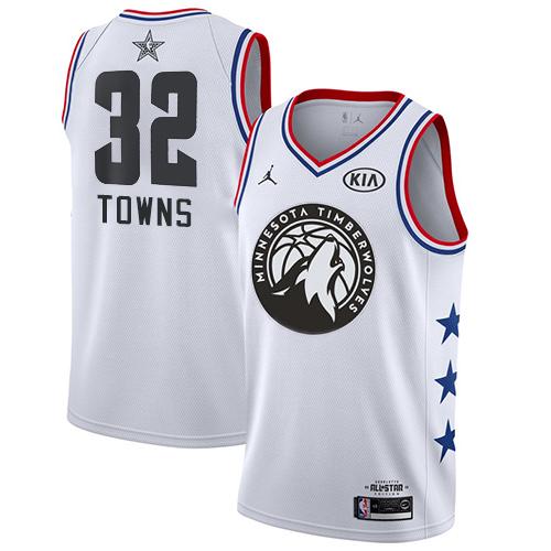 Timberwolves #32 Karl-Anthony Towns White Basketball Jordan Swingman 2019 All-Star Game Jersey