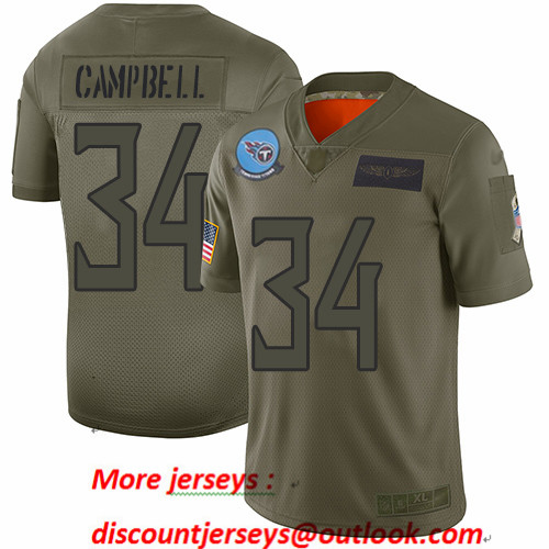 Titans #34 Earl Campbell Camo Men's Stitched Football Limited 2019 Salute To Service Jersey