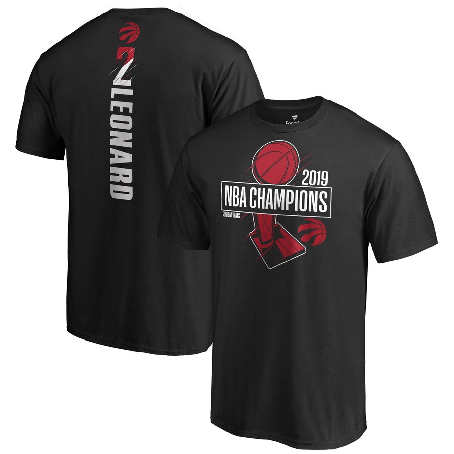 Toronto Raptors 2 Kawhi Leonard Fanatics Branded 2019 NBA Finals Champions Name & Number T-Shirt Black