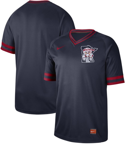 Twins Blank Navy Authentic Cooperstown Collection Stitched Baseball Jersey