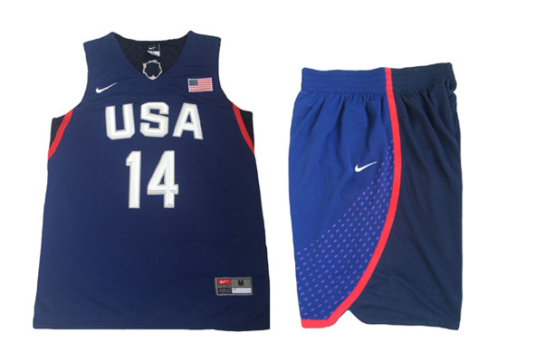 USA 14 Draymond Green Navy 2016 Olympic Basketball Team Jersey(With Shorts)