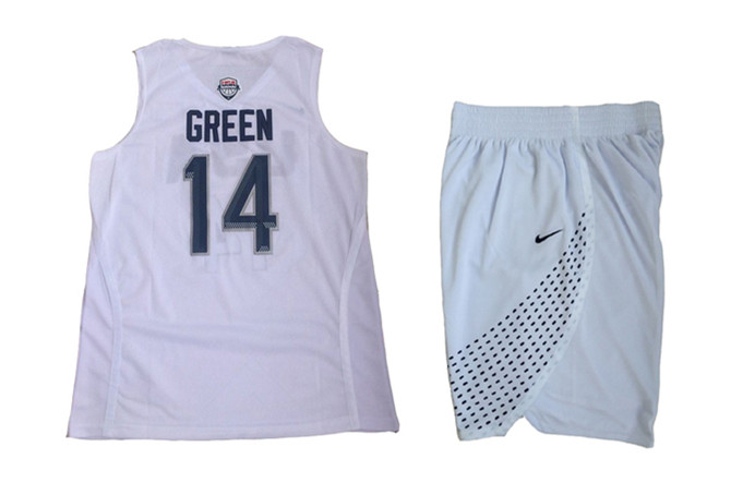 USA 14 Draymond Green White 2016 Olympic Basketball Team Jersey(With Shorts)