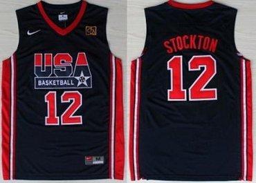 4d2205e6c9d Loading Zoom, please wait USA Basketball 1992 Olympic Dream Team Blue  Jerseys 12# John Stockton