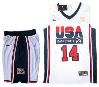 USA Basketball Retro 1992 Olympic Dream Team White Jersey & Shorts Suit #14 Charles Barkley