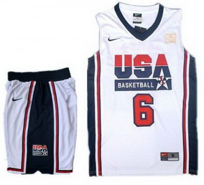 USA Basketball Retro 1992 Olympic Dream Team White Jersey & Shorts Suit #6 LeBron James