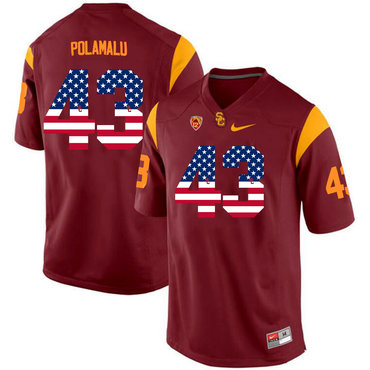 USC Trojans 43 Troy Polamalu Red USA Flag College Football Jersey