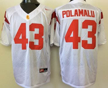 USC Trojans 43 Troy Polamalu White College Football Jersey
