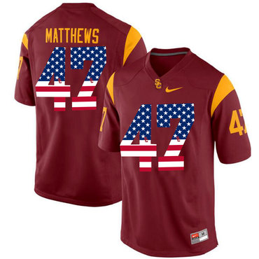 USC Trojans 47 Clay Matthews Red USA Flag College Football Jersey