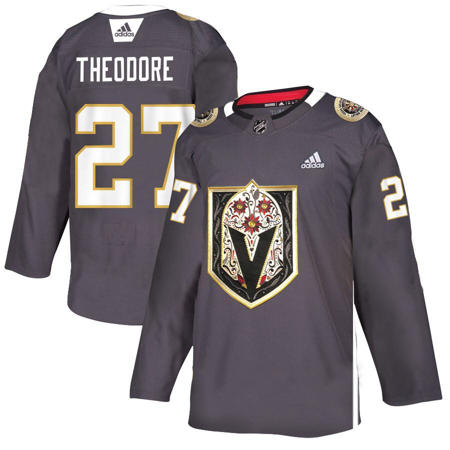 Vegas Golden Knights 27 Shea Theodore Gray Dia De Los Muertos Adidas Jersey