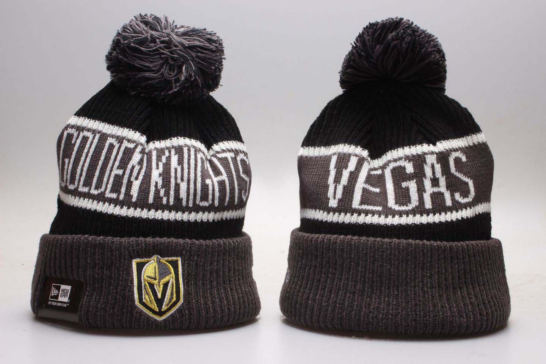 Vegas Golden Knights Fresh Logo Black Cuffed Pom Knit Hat YP