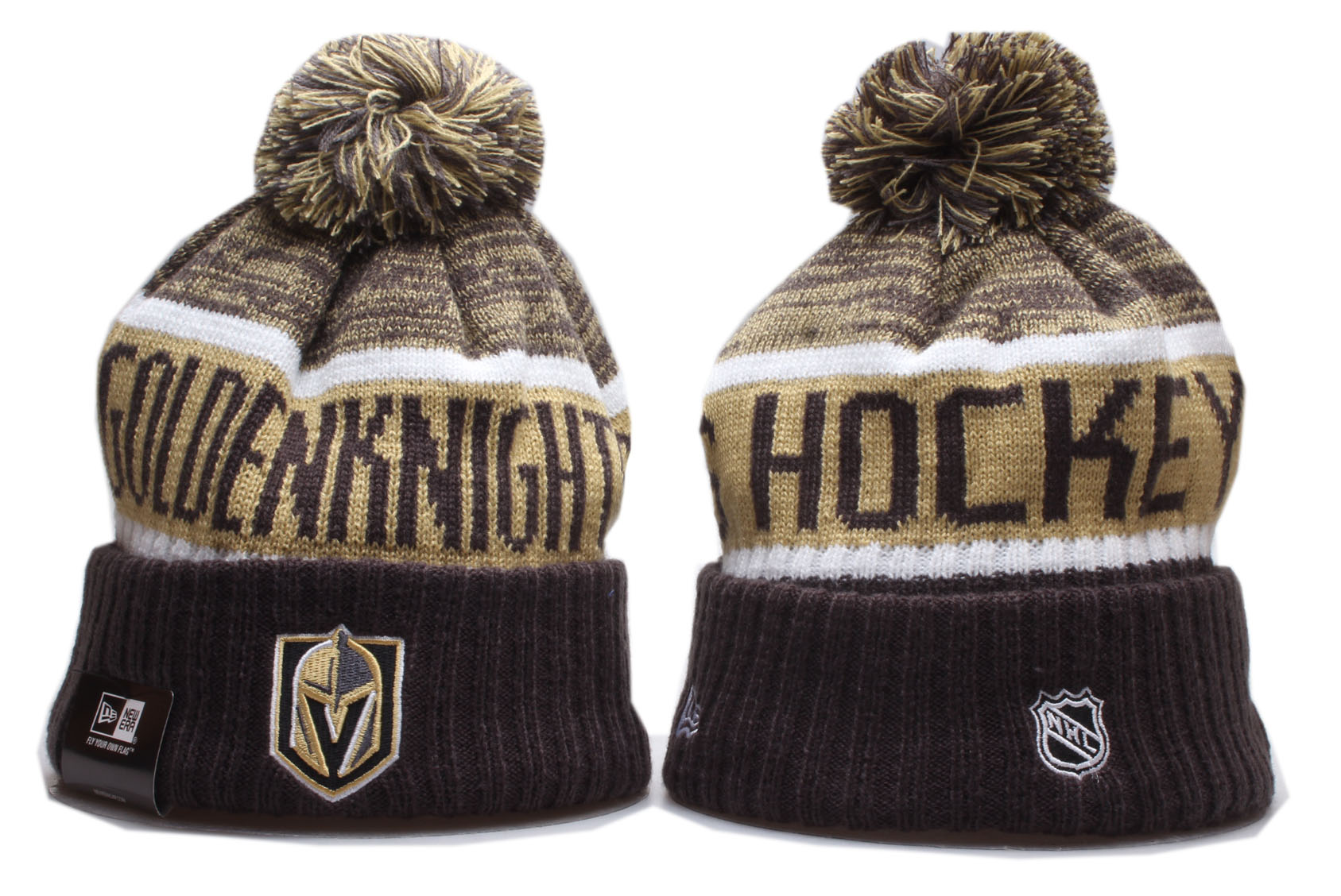 Vegas Golden Knights Team Logo Camo Cuffed Pom Knit Hat YP