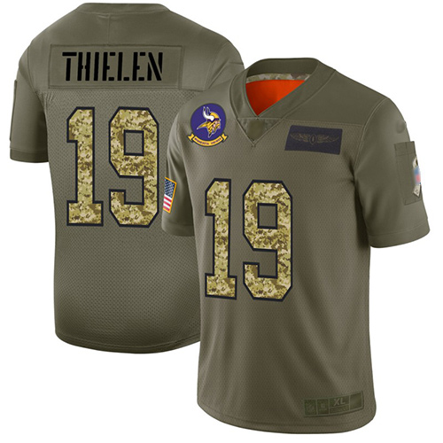 Vikings #19 Adam Thielen Olive Camo Men's Stitched Football Limited 2019 Salute To Service Jersey